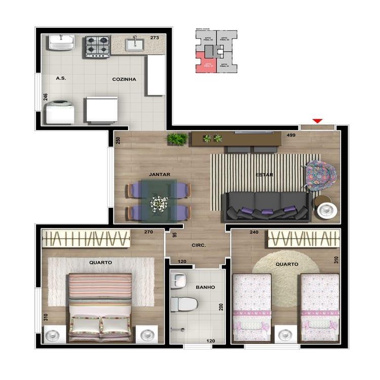 Apartamento tipo - Cozinha convencional