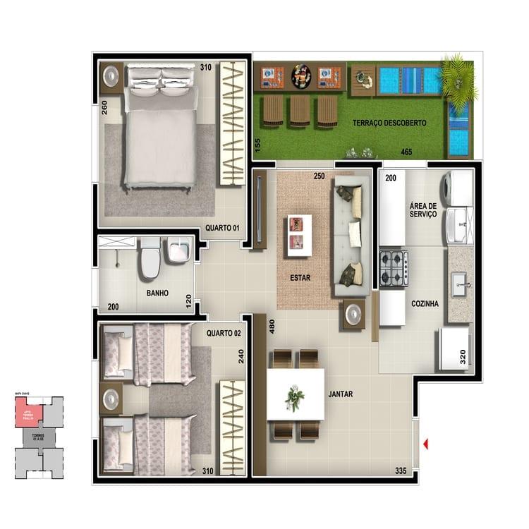 Apartamento térreo - Cozinha americana