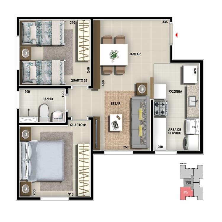 Apartamento tipo - Cozinha americana